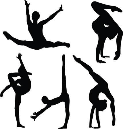 dancing pose: gymnastics girl silhouette collection - vector Illustration