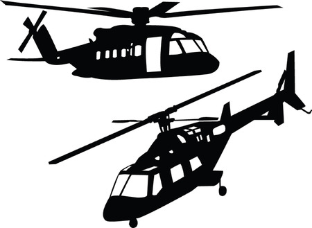 battle: helicopter silhouette collection - vector