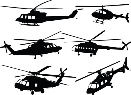 vehicle combat: helicopters silhouette collection - vector