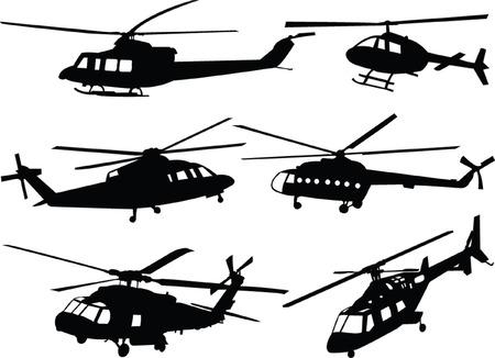 hélicoptères silhouette collection - vecteur