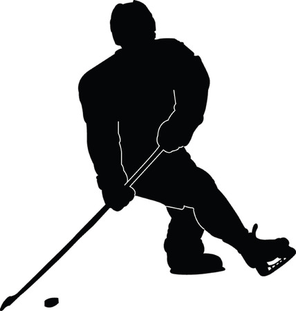 hockey player silhouette - vector Vector