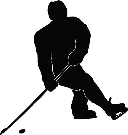 hockey player silhouette - vector Vector
