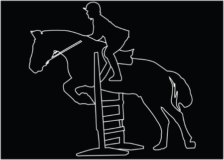 horse race silhouette with background - vector Vector