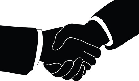 mani che si stringono: stretta di mano - vector Vettoriali