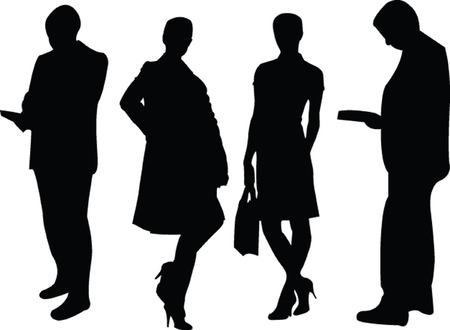 business people silhouette 2 - vector Vector