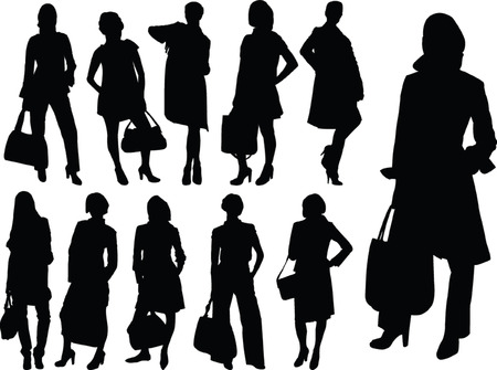 business women collection silhouette - vector Vector