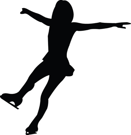 figure skater: ice skating silhouette - vector