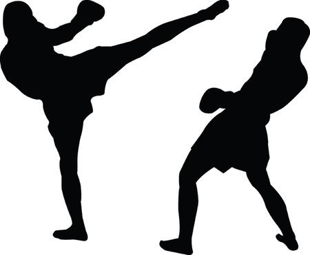 kickboxing silhouette - vector Vector