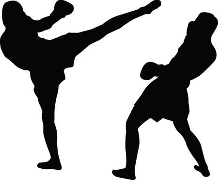 boxeadora: silueta kickboxing - vector Vectores