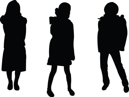 kids fashion silhouette collection - vector Vector