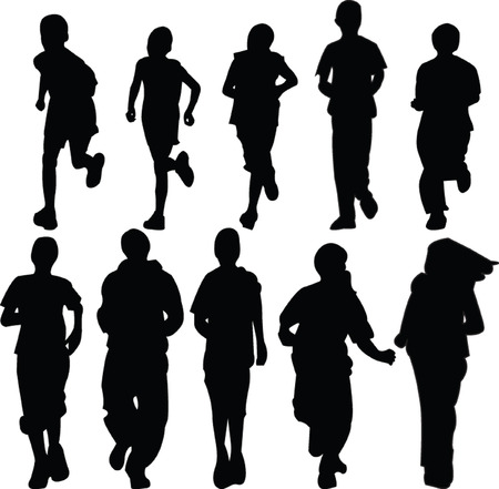 kids running silhouette - vector Vector