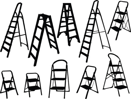 scale up: ladders collection - vector Illustration