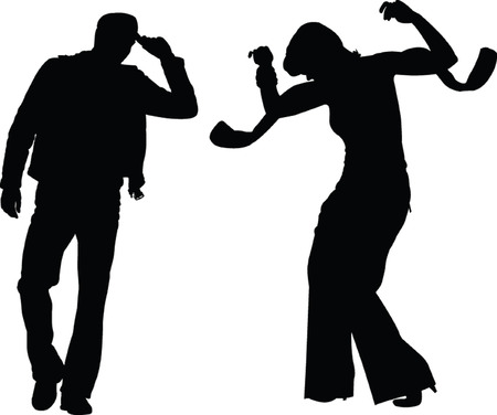 exaltation: man and women silhouette - vector