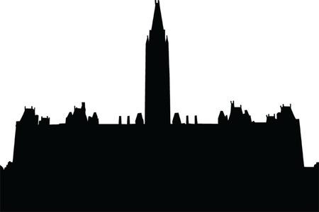 governmental: Panorama de la silueta de la ciudad - vector de