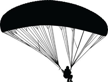 parapente: paragliding silhouet - vector