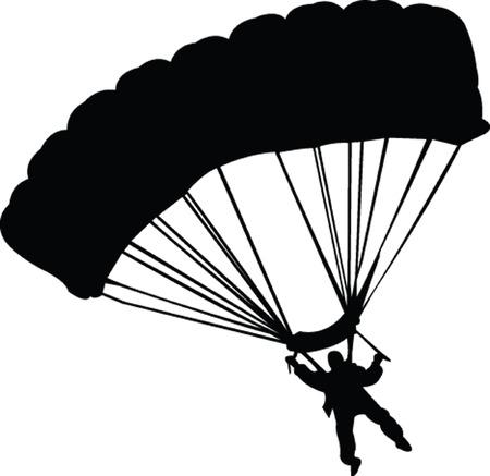 parachutist silhouette - vector Vector