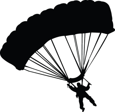 jumpers:  parachutist silhouette - vector