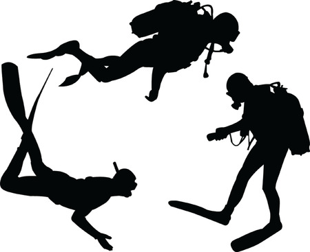 scuba divers silhouette collection - vector Illustration