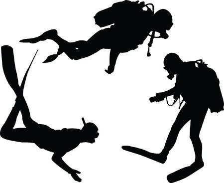 adrenaline: scuba duikers silhouet collectie - vector