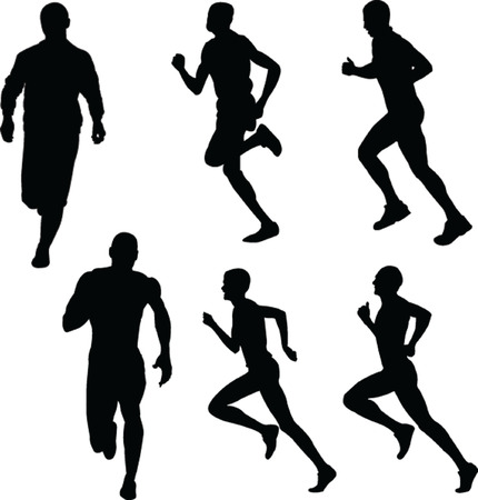 dexterity: running people silhouette collection - vector