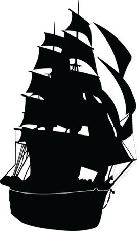 galley: sailboat silhouette - vector Illustration