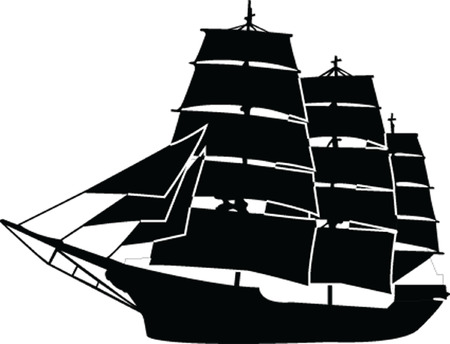 sailboat silhouette with outline - vector