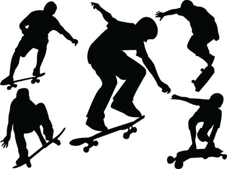ni�o en patines: patineta colecci�n - vector