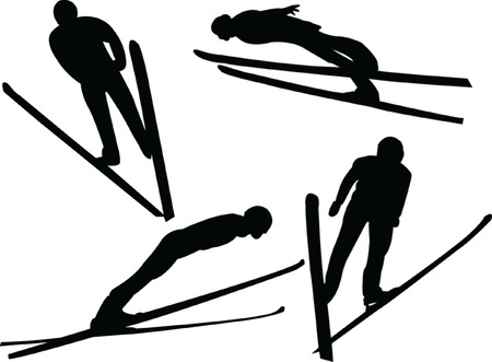 ski jumping silhouette collection - vector Vector