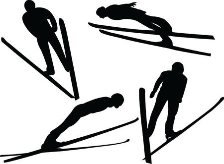 Mountainside: Skoki narciarskie silhouette gromadzenia - vector Ilustracja