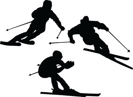 illustration of skiers silhouettes - vector