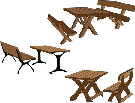 bench alone: table and bench in the park - vector Illustration