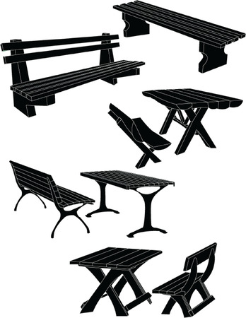 bench alone: tables and bench in the park 2 - vector Illustration