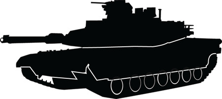 vehicle combat: tank with outline - vector
