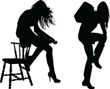 two girls silhouette - vector Vector