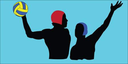 waterpolo: Waterpolo silhouet - vector