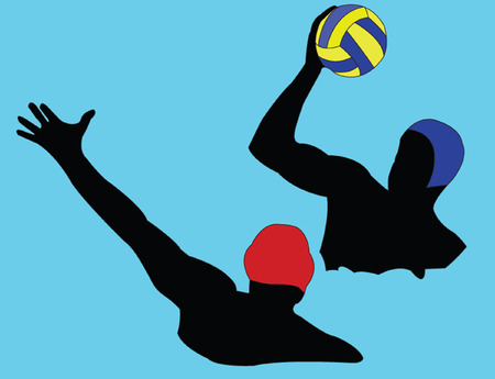waterpolo: water polo silhouette - vector