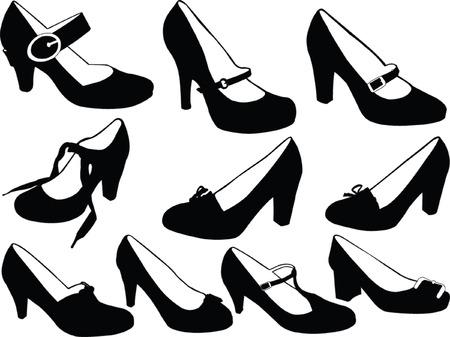 women shoes collection - vector Vector