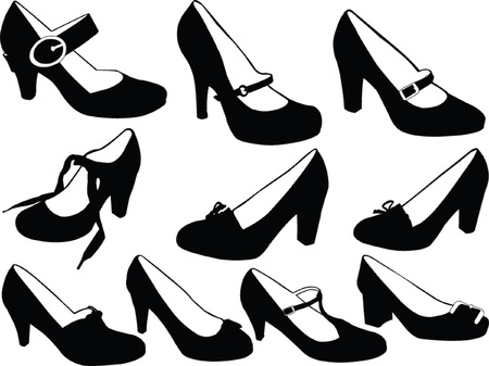 fetish:  women shoes collection - vector Illustration