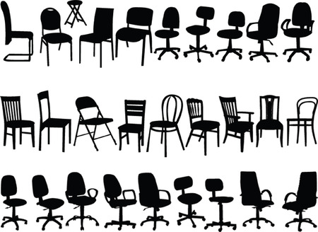 vintage living room: big collection of chairs - vector Illustration