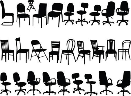 gran colección de sillas - vector de