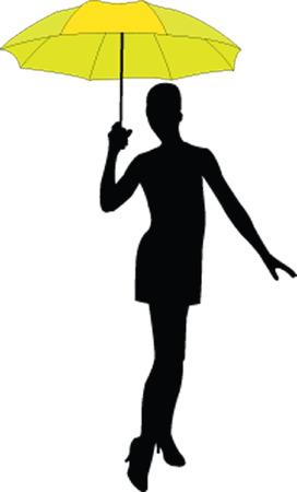 girl with umbrella - vector Stock Vector - 5247635