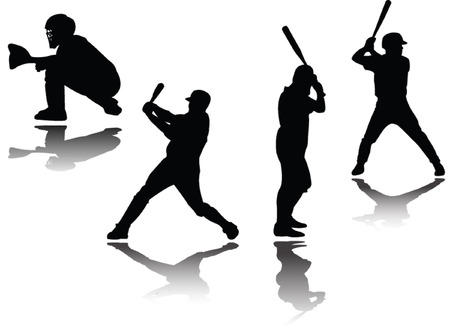 baseball player with shadow - vector Stock Vector - 5247634