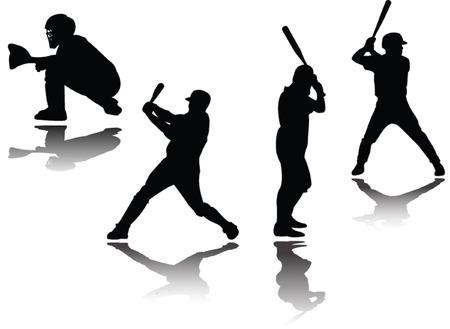 catcher baseball: joueur de baseball avec ombre - vectoriels  Illustration