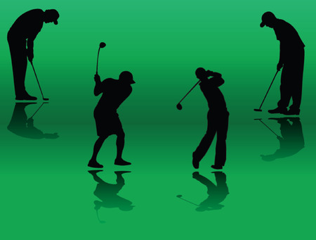 put: golf player silhouette - vector