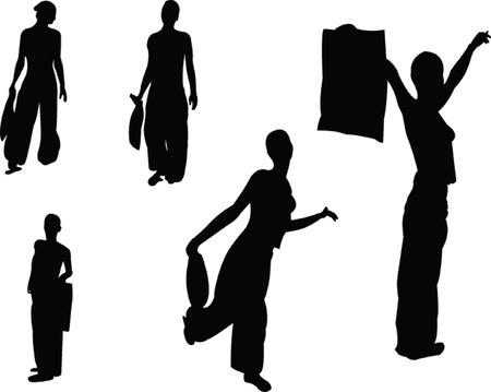 shopping women - vector Vettoriali
