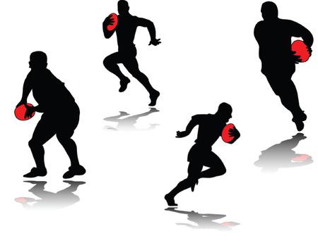 jugador de rugby con sombra - vectoriales