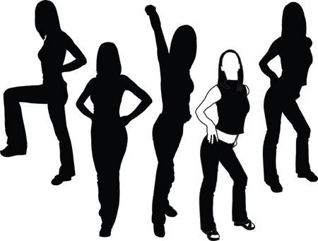 girl in different poses - vector Vector