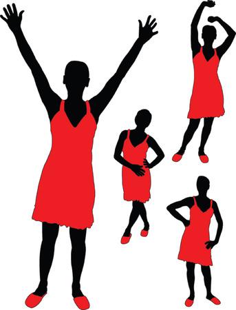 girl in red dress - vector Stock Vector - 5273772