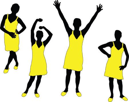 girl in yellow dress - vector Stock Vector - 5273771