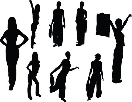 collection of fashion girls - vector Vector